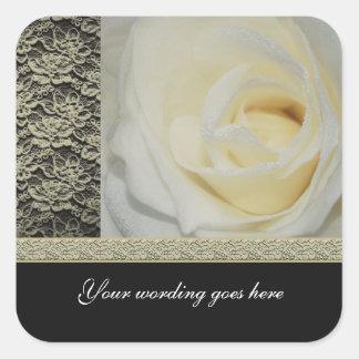 Wedding stickers - white roses customizable
