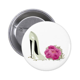 Wedding Stiletto Shoe and Bouquet of Roses Pinback Button