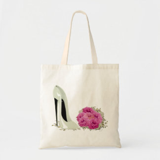 Wedding Stiletto Shoe and Bouquet of Roses Budget Tote Bag