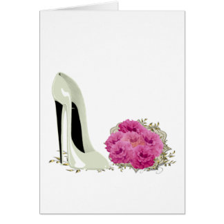 Wedding Stiletto Shoe and Bouquet of Roses Greeting Card