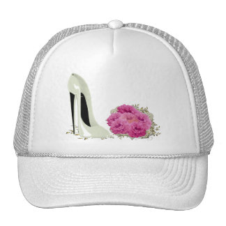 Wedding Stiletto Shoe and Bouquet of Roses Trucker Hats