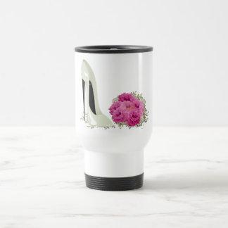 Wedding Stiletto Shoe and Bouquet of Roses Travel Mug