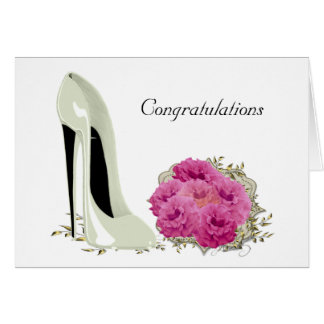 Wedding Stiletto Shoe and Roses Bouquet Gifts Greeting Card