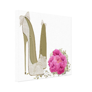 Wedding Stiletto Shoes and Bouquet Art Canvas Prin Gallery Wrap Canvas