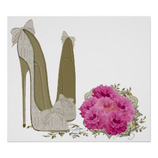 Wedding Stiletto Shoes and Bouquet Poster