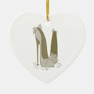 Wedding Stiletto Shoes Art Gifts Ceramic Heart Decoration