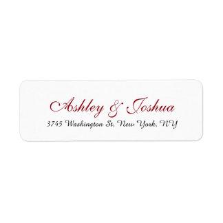 Wedding Stylish Chic Handwriting Red White Elegant Return Address Label