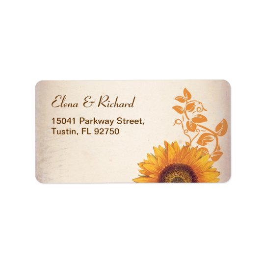 wedding sunflower address labels