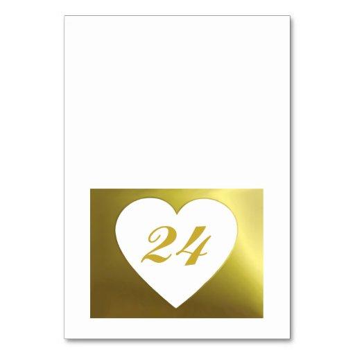 Wedding Table Card   White Golden Heart Collection