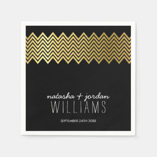 WEDDING TABLE DECOR chevron pattern gold black Disposable Napkins