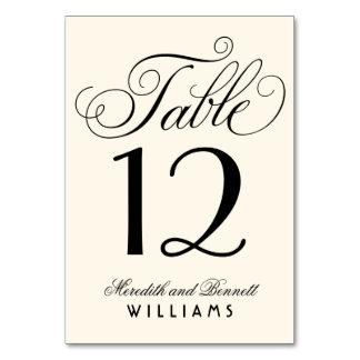 Wedding Table Number   Black Script Monogram