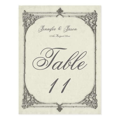 Wedding Table Number Card Antique / Vintage Frame Postcard