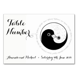 WEDDING TABLE NUMBER CARD. b/w doves YinYang