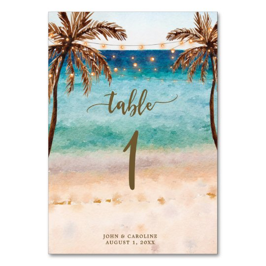 Wedding table number card boho beach tropical