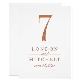 Wedding Table Number Card | Copper Elegance