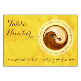 WEDDING TABLE NUMBER CARD. Gold doves YinYang