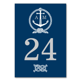 Wedding Table Number Card   Nautical Theme