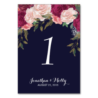 Wedding table number card navy floral