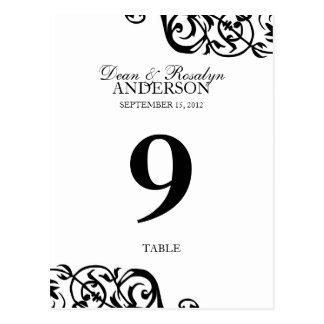 Wedding table number card party reception B&W Postcard