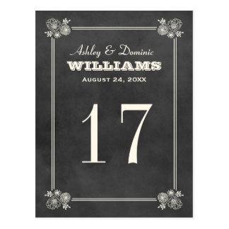 Wedding Table Number Card | Vintage Chalkboard
