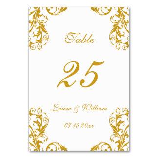 Wedding Table Number Cards | Gold Damask Design