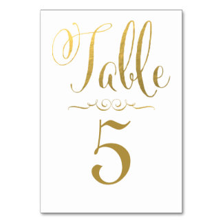 Wedding Table Number Cards Gold Foil Personalised Table Card