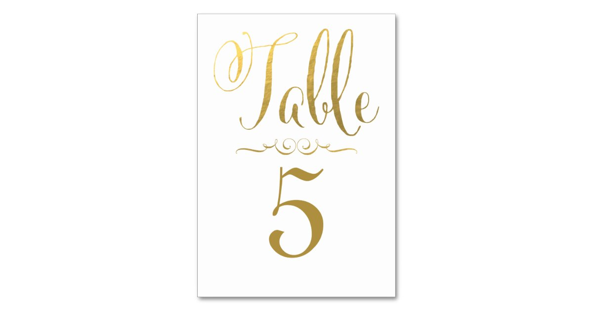 Wedding table number cards gold foil personalised table for Table numbers