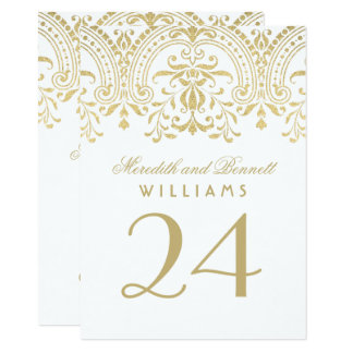 Wedding Table Number Cards | Gold Vintage Glamour