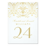 Wedding Table Number Cards | Gold Vintage Glamour 11 Cm X 16 Cm Invitation Card