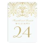 Wedding Table Number Cards | Gold Vintage Glamour 11 Cm X 16 Cm Invitation Card