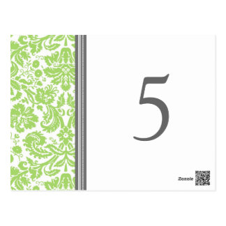 Wedding Table Number Cards Lime Grey