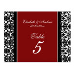 Wedding Table Number Cards Red Damask Postcard