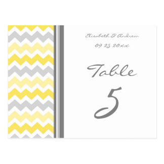 Wedding Table Number Cards Yellow Gray Chevron