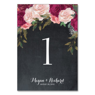 wedding table number chalkboard burgundy pink table cards