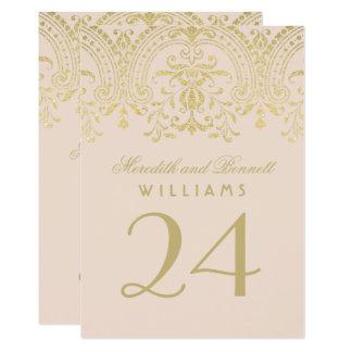 Wedding Table Number | Champagne Vintage Glamour 13 Cm X 18 Cm Invitation Card
