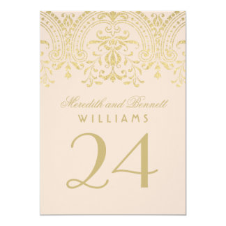 Wedding Table Number | Champagne Vintage Glamour 13 Cm X 18 Cm Invitation Card