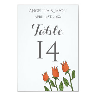Wedding Table Number Floral Watercolor Spring Pure