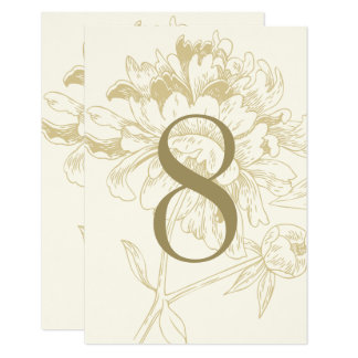 Wedding Table Number | Gold Floral Peony Design 9 Cm X 13 Cm Invitation Card