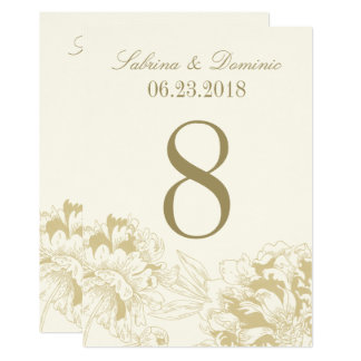Wedding Table Number | Gold Floral Peony Design Card
