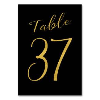 Wedding table number gold glitter black elegant