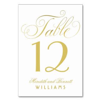 Wedding Table Number   Gold Script Monogram