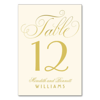 Wedding Table Number | Gold Script Monogram