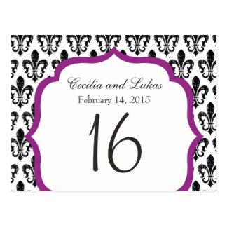 Wedding Table Number   New Orleans   Fuschia Postcard