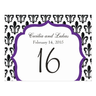 Wedding Table Number | New Orleans | Purple Postcard