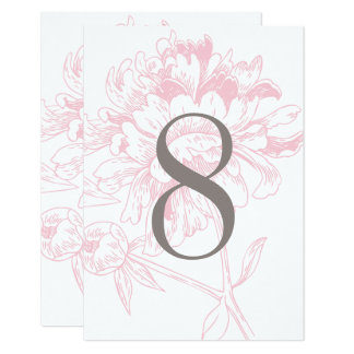 Wedding Table Number | Pink Floral Peony Design