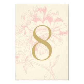 Wedding Table Number | Pink Floral Peony Design 9 Cm X 13 Cm Invitation Card