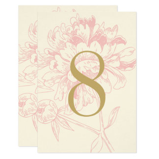 Wedding Table Number | Pink Floral Peony Design Card