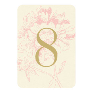 Wedding Table Number | Pink Floral Peony Design Invite
