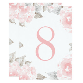 Wedding Table Number | Pink Watercolor Roses Card