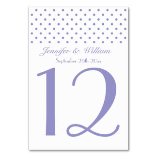 Wedding Table Number Pretty Purple Polka Dots Table Cards